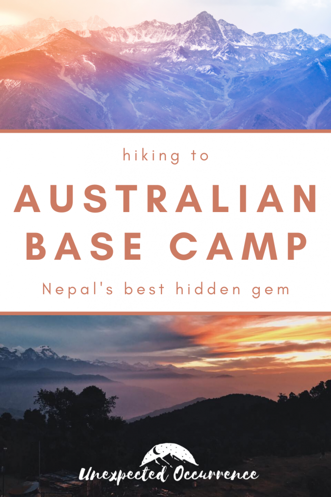 the text 'Australian Base Camp' over photos of sunrise over mountains